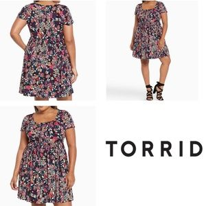 Torrid Multi Floral Print Pintuck Challis Dress